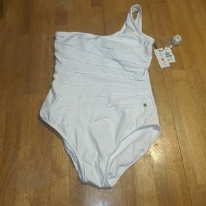 Ruched Calvin Klein one arm one piece bathing suit